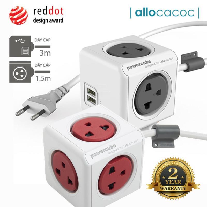 Bảng giá Bộ 2 Ổ Cắm Điện Allocacoc PowerCube Extended USB + Extended 2 Sạc USB & 9 Ổ Cắm Dây Cáp 3m + 1.5m - Hàng Nhập Khẩu
