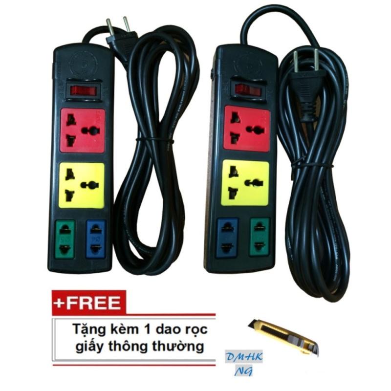 Bảng giá Bộ 2 ổ cắm điện Lioa 4 ổ cắm kết hợp dây 3 và 5 mét 2D2S tặng kèm dao rọc giấy