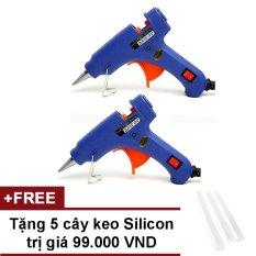 Bộ 2 súng bắn keo Silicon (Xanh) + Tặng 5 cây keo silicon