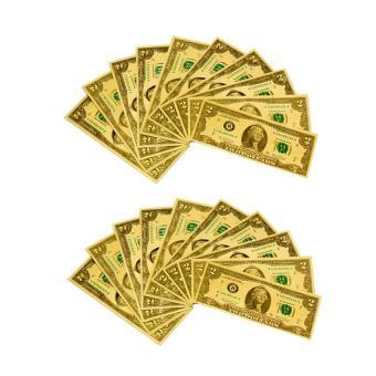 Bộ 20 tiền usd mạ vàng 2 đô la