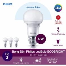 (Bộ 3) Bóng đèn Philips Ecobright LEDBulb 5W 6500K đuôi E27 A60 - Ánh sáng trắng