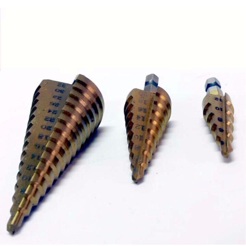 bộ 3 mũi khoan bước tháp titanium 4-32mm khoan sắt,tôn,nhôm...
