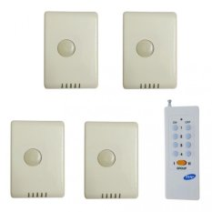 Bộ 4 công tắc điều khiển từ xa sóng RF công suất lớn TPE RC1A + Remote 16 nút RM01