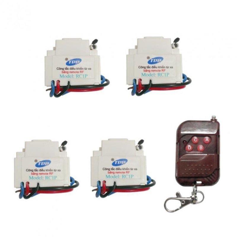 Bộ 4 công tắc điều khiển từ xa sóng RF lắp mặt PANASONIC TPE RC1P + Remote RF vỏ vân gỗ R1VG315