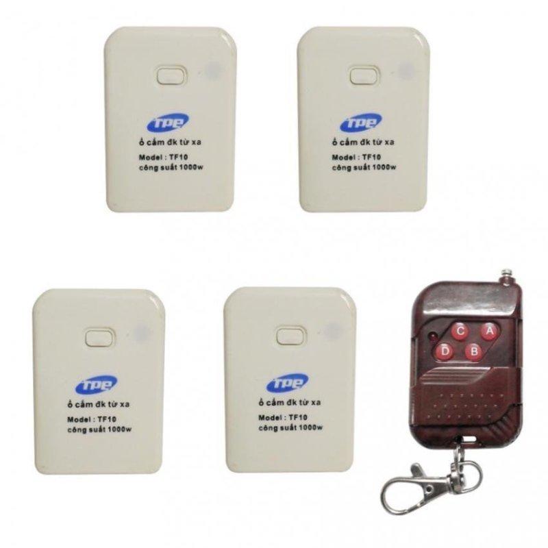 Bộ 4 ổ cắm điều khiển từ xa hồng ngoại RF TPE TF10 + Remote RF vỏ vân gỗ R1VG315