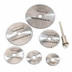 Bộ 6 dĩa cưa bằng thép cao cấp kèm trục lắp cho khoan cầm tay đa năng mini (như Dremel, ACZ, ...)