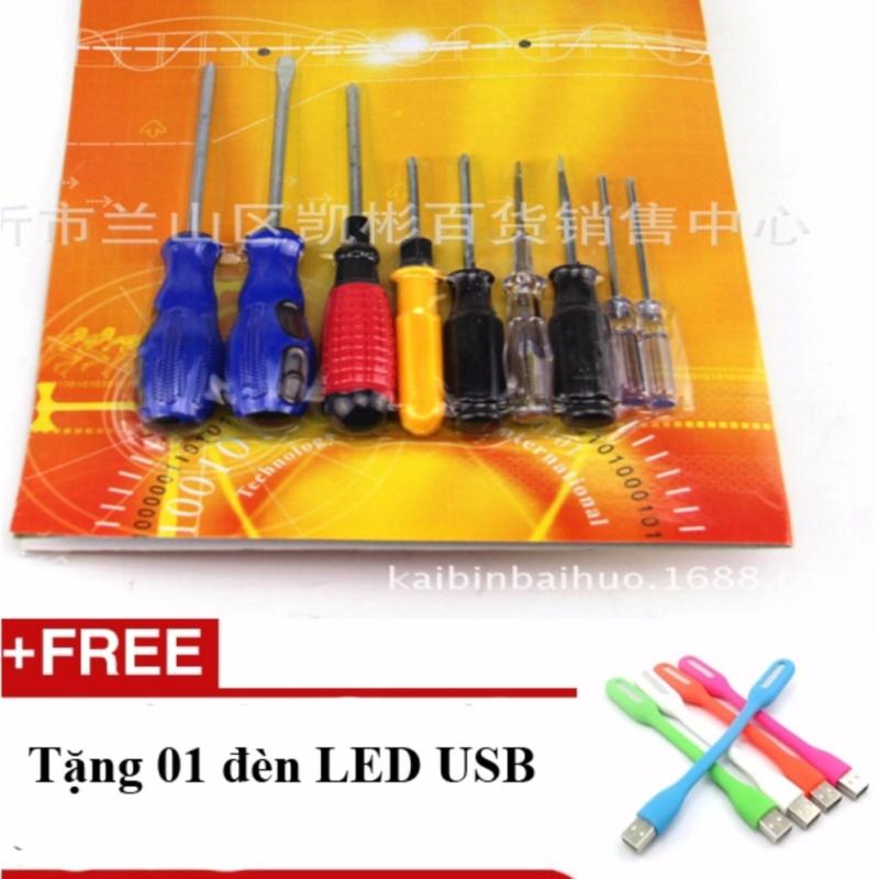 Bảng giá Mua Bộ 9 tuốc nơ vít thép cực tốt phổ biến nhất thị trường + Tặng 01 đèn Led USB