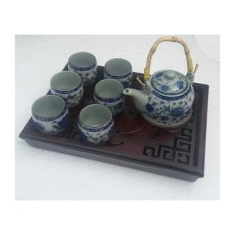 Bộ ấm chén trà tráng men và họa tiết cổ tls69