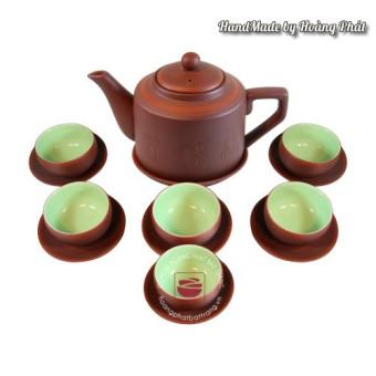 Bộ ấm chén trà Tử sa Tích khắc chữ SP96