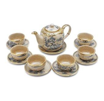 Bộ ấm và tách trà men rạn giả cổ bọc đồng Bát Tràng-03