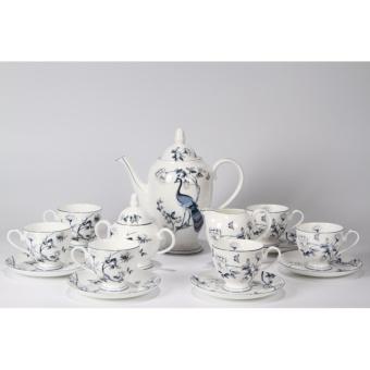 Bộ ấm và tách trà sứ xương Bone Porcelain 155915L (Trắng phối hoa)