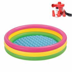 Bộ bể bơi 3 tầng cầu vồng 58924 (86x25cm) và Bơm điện bơm bể bơi