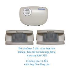 Bộ chuông- 2 ĐẦU cảm ứng dùng pin báo khách báo trộm tích hợp được Kawasan KW-I318