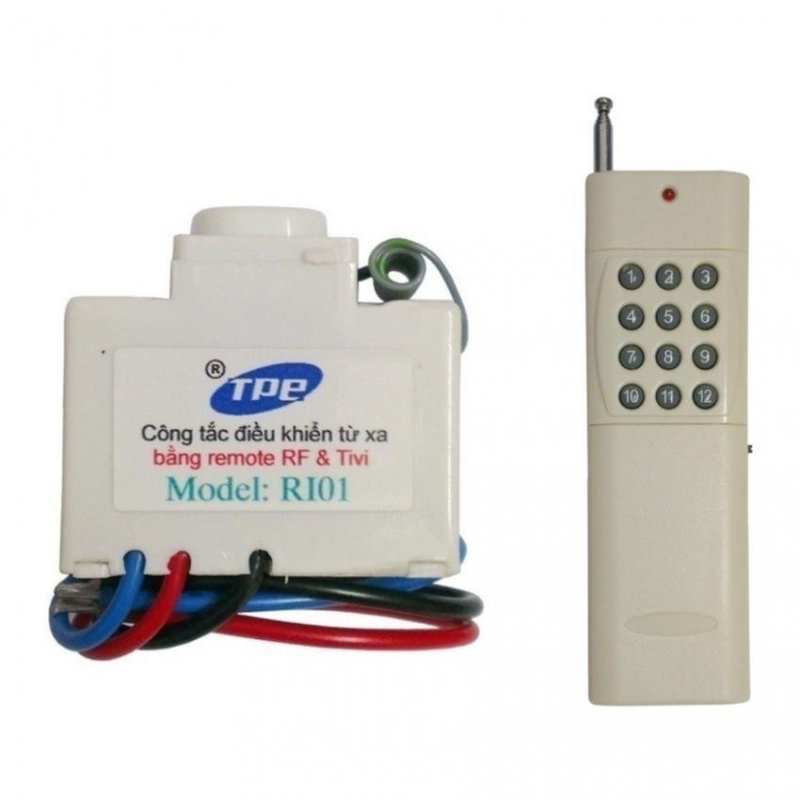 Bộ công tắc điều khiển từ xa IR + RF TPE RI01 + Remote tầm xa 2500m 12 nút R4B12