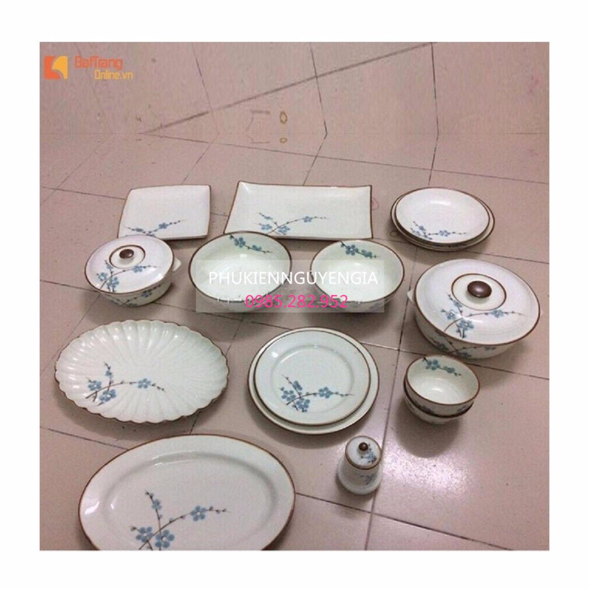Bộ đồ ăn Bát Tràng - BATO men trắng sữa vẽ hoa đào
