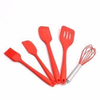 Bộ dụng cụ làm bánh cơ bản silicon 5 món (Đỏ)
