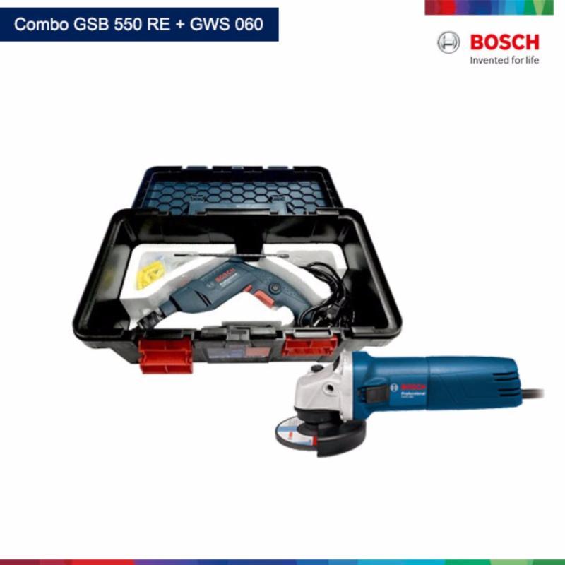 Bộ freedom Máy khoan Bosch GSB 550 + Máy mài Bosch GWS 060 + thùng đồ nghề