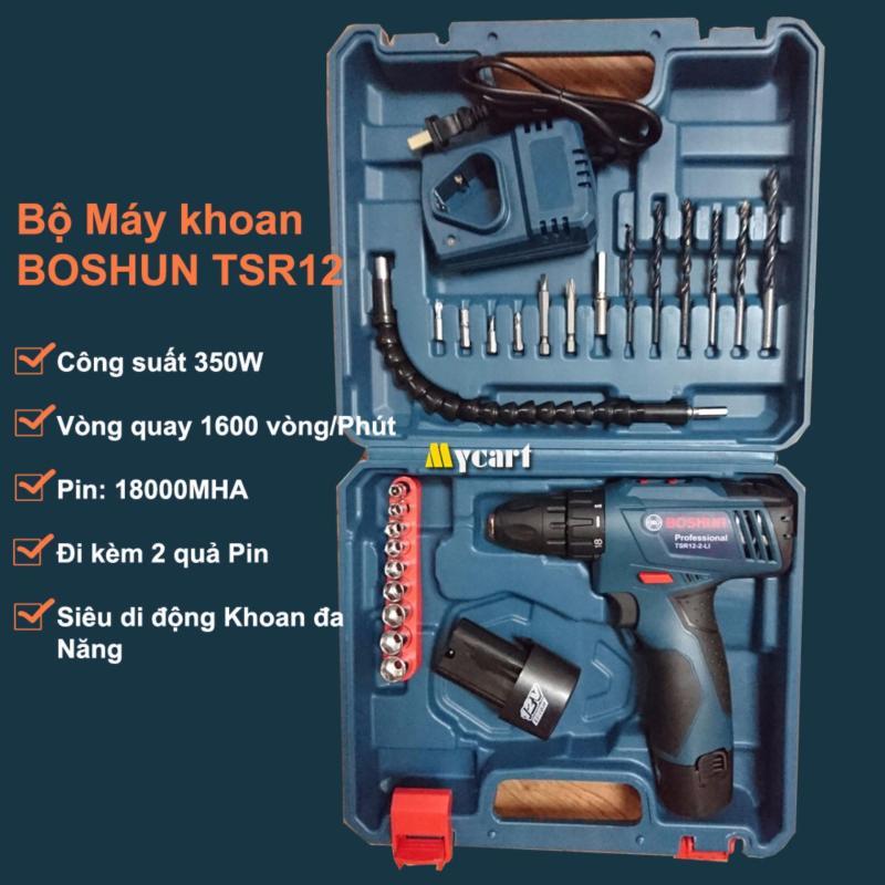 Bộ máy khoan đa năng BOSHUN - TSR12 dùng PIN - Kèm 2 quả PIN 36000MHA