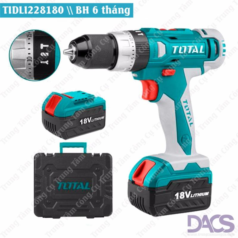 Bộ máy khoan Pin cầm tay 3 chức năng 40 chi tiết 18V-Total TIDLI228180