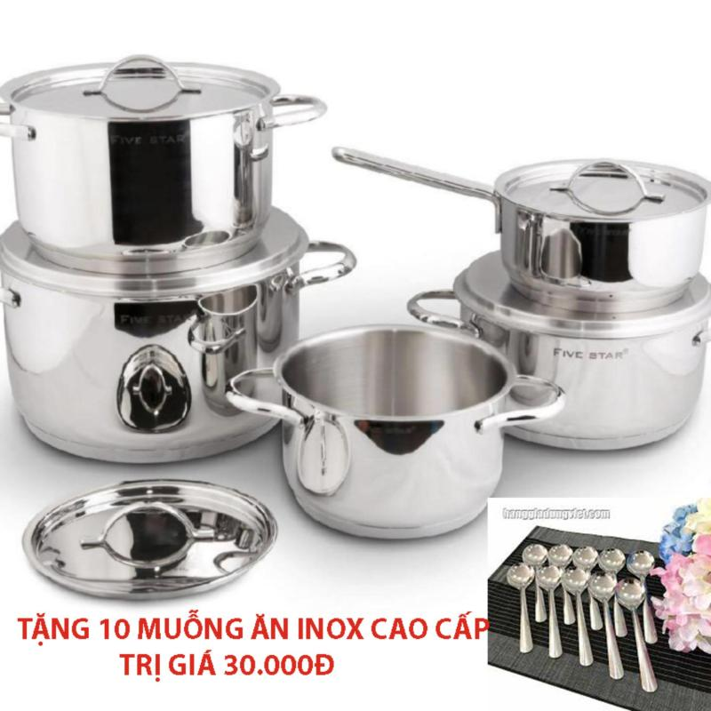 Bộ nồi inox Fivestar inox 304 bếp từ Kitchi 5 món - nắp inox