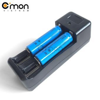 Bộ sạc đôi và 2 pin sạc lithium 14500 1200mAh 3.7V (dùng cho Đènpin)