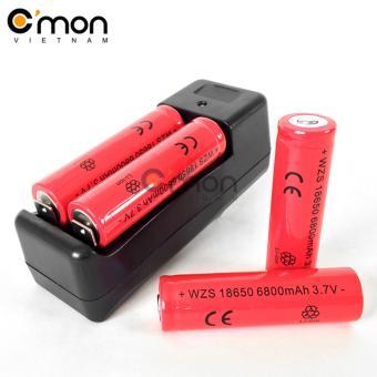 Bộ sạc đôi và 4 pin sạc li-ion 18650 6800mAh 3.7V (dùng cho đèn pin- đỏ)