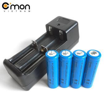 Bộ sạc đôi và 4 pin sạc lithium 14500 1200mAh 3.7V (dùng cho Đènpin)