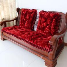 Bộ thảm trải ghế gỗ cao cấp dày không trơn (đỏ)