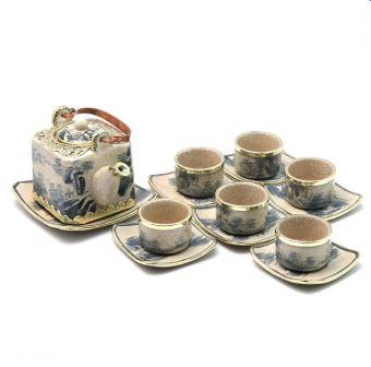 Bộ trà dáng vuông bọc đồng men rạn Bát Tràng-03