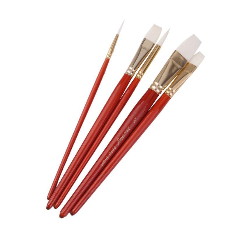 Mua BolehDeals 5pcs Assorted Size Artist Painting Flat/Round Nylon Brushes - Orange - Intl