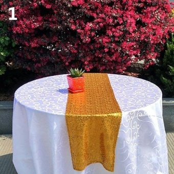 "Broadfashion Sequins Hotel Table Runner Wedding Party Table Decoration Venue Desk Decor 12 X 70"" (Gold)"" - intl"