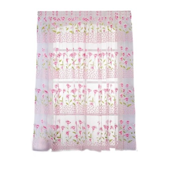 Calla Lily Floral Transparent Window Curtain Bedroom HomeDecor(Pink) - intl