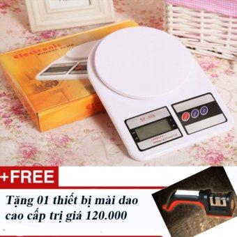 Cân điện tử mini dùng cho nhà bếp SF400 - Loại 5kg + Tặng 01 thiếtbị mài dao chuyên dụng cao cấp