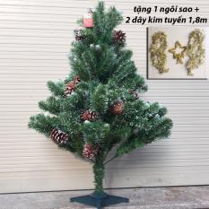 Giá Sốc Cây thông Noel 3 loại lá gắn trái thông 1,2m (tặng 1 ngôi sao 5 cánh và 2 dây kim tuyến 1,8m)  M&N Toys