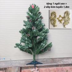Giá Niêm Yết Cây thông Noel 3 loại lá gắn trái thông 1,5m (tặng 1 ngôi sao 5 cánh và 2 dây kim tuyến 1,8m)  M&N Toys