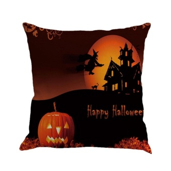 CHEER Halloween Night 3 Pumpkin Letter Printed Cushion Cover Linen Cotton Pillowcase Linen Color 1 - intl