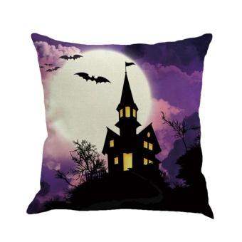 CHEER Halloween Pillowcase Flax Pillowslip Decorative Pillow Case Dark Night Pumpkin #3 - intl