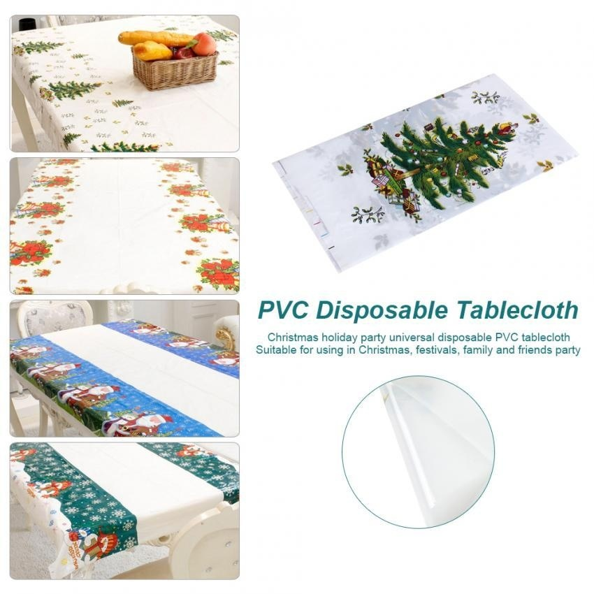 Hình ảnh Christmas PVC Disposable Tablecloth Xmas Kitchen Table Protector The Elderly - intl