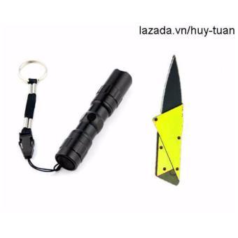 Combo 1 đèn pin siêu sáng mini + 1 dao ATM cán thép ( Vàng )