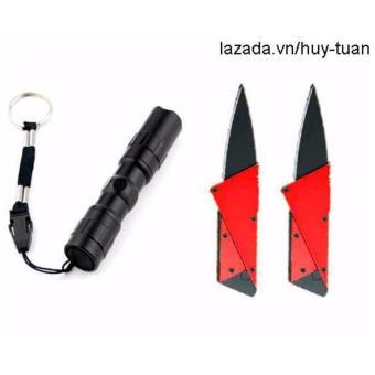 Combo 1 đèn pin siêu sáng mini + 2 dao cán thép ATM ( Hồng + Hồng )