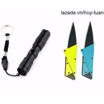 Combo 1 đèn pin siêu sáng mini + 2 dao cán thép ATM ( Vàng + xanhdương )