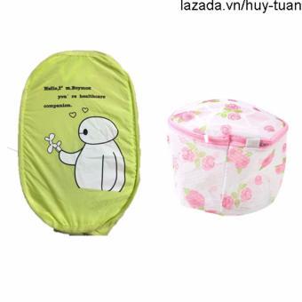 Combo 1 túi lưới bung đựng quần áo ( Xanh lá ) + 1 túi giặt đồ lót hình tròn