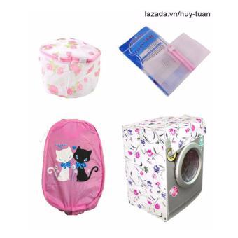 Combo 1 vỏ bọc máy giặt cửa ngang cỡ nhỏ ( màu ngẫu nhiên ) + 1 túi giặt vuông + 1 túi giặt tròn + 1 túi lưới bung ( Hồng )
