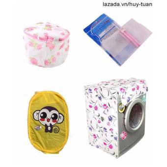 Combo 1 vỏ bọc máy giặt cửa ngang cỡ to ( màu ngẫu nhiên ) + 1 túi giặt vuông + 1 túi giặt tròn + 1 túi lưới bung ( Vàng )