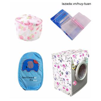Combo 1 vỏ bọc máy giặt cửa ngang cỡ to ( màu ngẫu nhiên ) + 1 túi giặt vuông + 1 túi giặt tròn + 1 túi lưới bung ( Xanh dương )