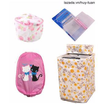 Combo 1 vỏ bọc máy giặt cửa trên cỡ to ( màu ngẫu nhiên ) + 1 túi giặt vuông + 1 túi giặt tròn + 1 túi lưới bung ( Hồng )