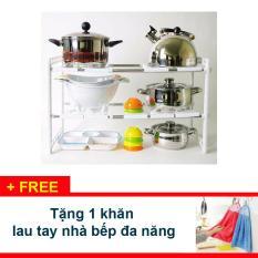 COMBO 2 Bộ kệ xoong nồi gầm bếp bằng nhựa lắp ghép thông minh - Tặng 1 khăn lau tay nhà bếp - GC001