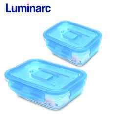 Combo 2 hộp thực phẩm thủy tinh Luminarc chữ nhật nắp cài (820ml - 1.22L)