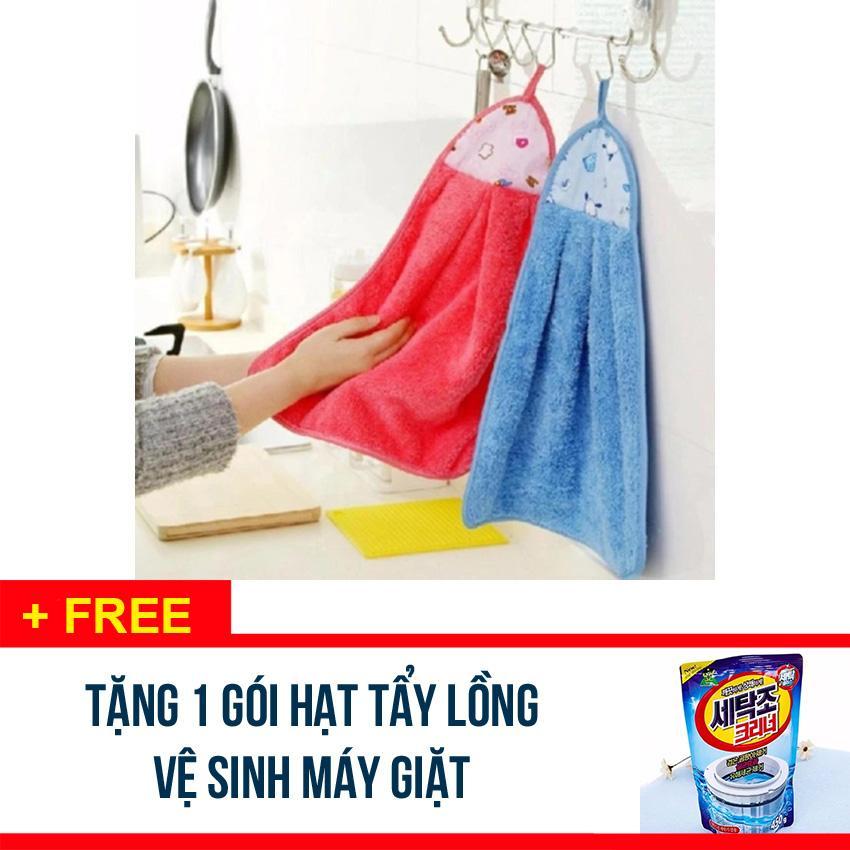 Hình ảnh COMBO 2 Khăn lau tay nhà bếp, nhà vệ sinh - chất bông mềm thấm nước - Tặng 1 gói hạt tẩy lồng vệ sinh máy giặt - SDX247