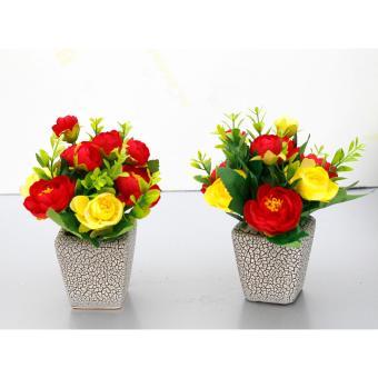 Combo 2 Lọ hoa hồng lụa 10 bông nghệ thuật để bàn